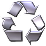 3d silver recycling symbol Royalty Free Stock Photo