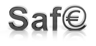 3D silver safe text and money Stock Photography