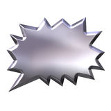 3D Silver Shout Bubble. Isolated in white Royalty Free Stock Image