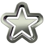 3d silver star. 3D rendering of silver star on white background Royalty Free Stock Photography