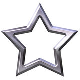 3D Silver Star Frame Stock Images