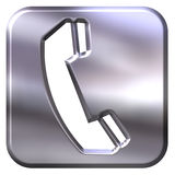 3D Silver Telephone Sign Royalty Free Stock Image