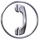 3D Silver Telephone Sign Royalty Free Stock Photography