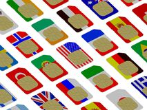 3D SIM cards represented as flags. Of different countries Royalty Free Stock Photography