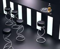3D simple modern bar interior. Simple 3D visualisation modern dark tones bar interior stock illustration
