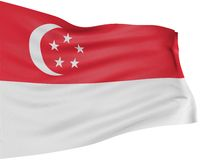 3D Singapore flag Royalty Free Stock Photography