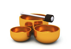 3D Singing bowls gold on white 05 Royalty Free Stock Photos