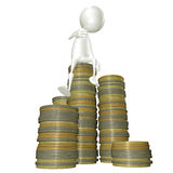 3d sitting on a pile of coins Royalty Free Stock Photography