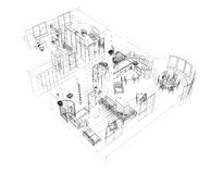 3d sketch of a four-room apartment Stock Images