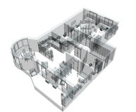 3d sketch of a four-room apartment. Object over white Royalty Free Stock Images