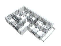 3d sketch of a four-room apartment Stock Photography