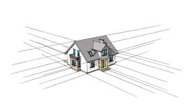 3D sketch of the home. On a white background Stock Photography