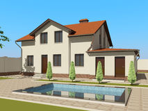 3D sketch of the house Royalty Free Stock Images