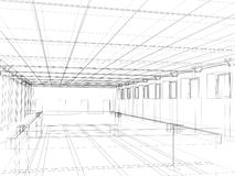 3d sketch of an interior public building Stock Photo