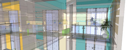 3d Sketch Of The House Royalty Free Stock Photo
