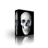 3d skull box template. 3d skull  box template isolated on white Stock Image