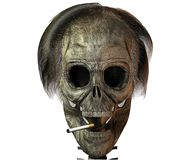 3D skull with cigarette Royalty Free Stock Image