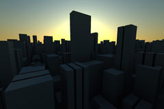 3d skyline of a crowd city, aerial view Royalty Free Stock Images