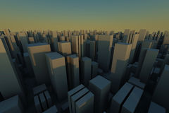 3d skyline of a crowd city - aerial view. 3d skyline of a crowd city, aerial view vector illustration
