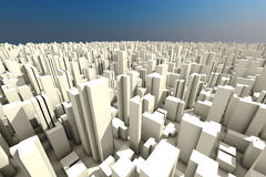 3d skyline of a crowd city - aerial view Royalty Free Stock Images