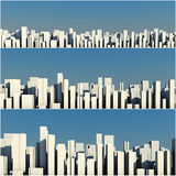 3d skyline of a crowd city aerial view Royalty Free Stock Photo