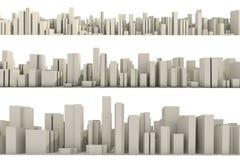 3d Skyline einer Massestadt - Luftaufnahme Stockbilder