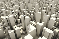 3d Skyline Of A Crowd City - Aerial View Royalty Free Stock Photography
