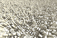 3d Skyline Of A Crowd City - Aerial View Stock Image