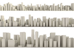 3d Skyline Of A Crowd City - Aerial View Stock Images