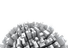 3d Skyscrappers - isolato sullo spazio bianco della copia Immagine Stock Libera da Diritti