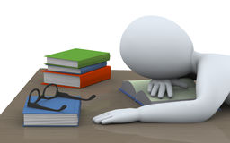 3d sleeping man with books. 3d illustration of tired student sleeping over books at the table. 3d rendering of people - human character Royalty Free Stock Photos