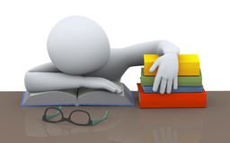 3d sleeping student Royalty Free Stock Image
