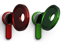 3d sleutel (rood groen eind) royalty-vrije stock fotografie