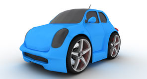 3d small blue car. Three-dimensional rendering of a small blue car Stock Photography