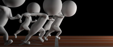 3d small man wins a run race on black background. 3d small man wins a run race at photofinish on black background Royalty Free Illustration