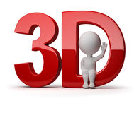 3d small people - 3d. 3d small person sitting in a word 3d. 3d image. Isolated white background Stock Photography