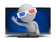 3d small people - 3d TV Royalty Free Stock Photo