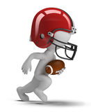 3d small people - american football. 3d small person - american football player running with ball. 3d image. White background Royalty Free Stock Image