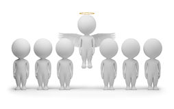 3d small people - angel. 3d small people - flied up angel. 3d image. Isolated white background Royalty Free Stock Image