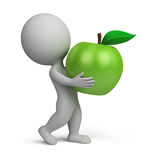 3d small people - apple. 3d small person carrying a green apple. 3d image. White background Royalty Free Stock Photography