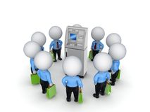 3d small people around ATM. vector illustration