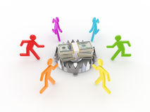 3d small people around iron trap and dollars. Royalty Free Stock Photography