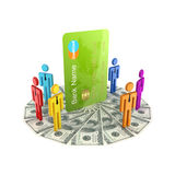 3d small people around large credit card. Royalty Free Stock Photos