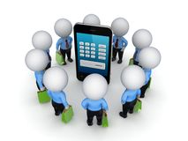 3d small people around mobile phone. Royalty Free Stock Photography
