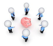 3d small people around pink piggy bank. Royalty Free Stock Image