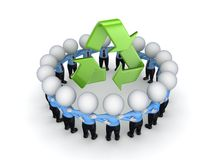 3d small people around recycle symbol. Royalty Free Stock Photos