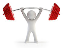 3d small people - Athlete lifting weights Royalty Free Stock Photos