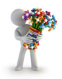 3d small people - Balloon flower Stock Images