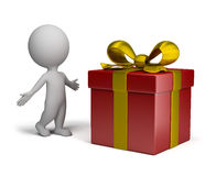 3d small people - big gift Stock Photography