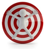 3d small people - big target. Little man was someone's purpose Stock Photo